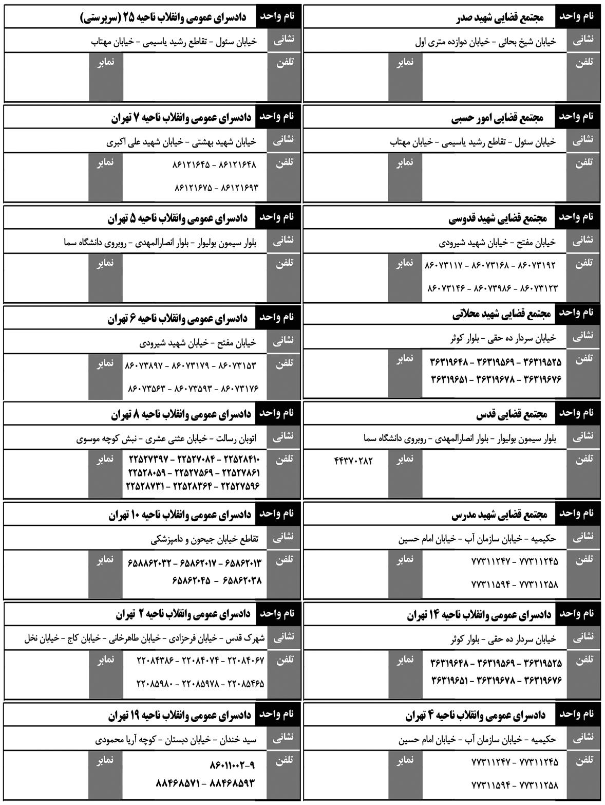 .jpg - تغییرات نشانی برخی مجتمع های قضایی تهران